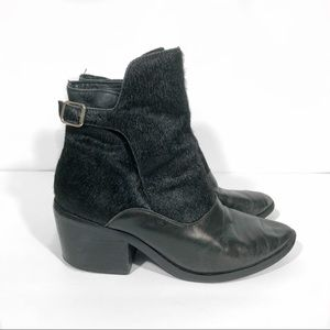 Leather and Pony Hair Ankle Booties
